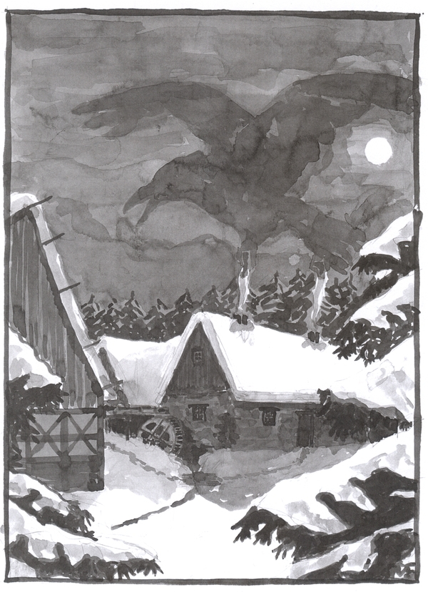 A washed ink drawing of a watermill in the snow.