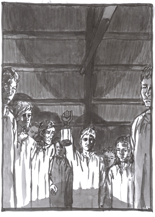 A washed ink drawing of the apprentices surrounding Krabat's bed.