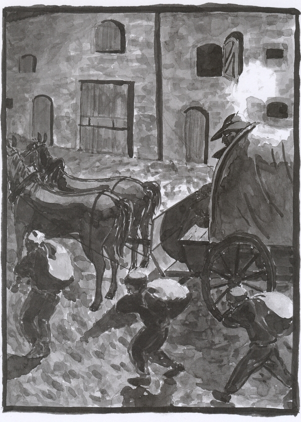 A washed ink drawing of the mill yard with the cart and the man with the cockerel feather.