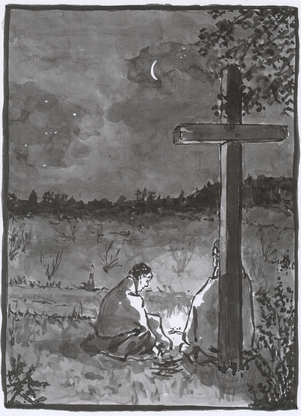 A washed ink drawing showing a night scene, a tall cross and two figures seated, wrapped in blankets, with a small fire. In the distance the lights of the village.
