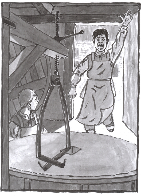 A washed ink drawing of a boy running into a room where another boy is working on a millstone.