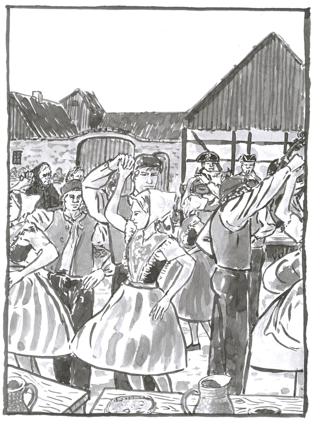 A washed ink drawing of a crowd of couples in traditional Sorb dress dancing.
