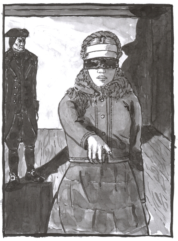 A washed ink drawing of a blindfolded girl in dark clothes, with a headscarf and a white band around her forehead, pointing at someone in front of her. Behind her stands a man dressed in black 18th century formal clothes.