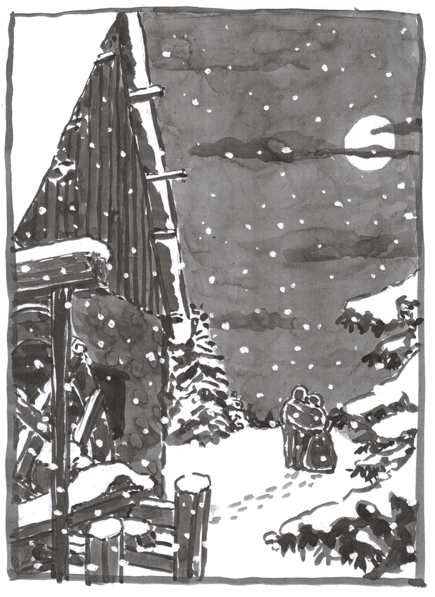 A washed ink drawing showing the mill in the foreground and a couple walking away from it, in the snow.