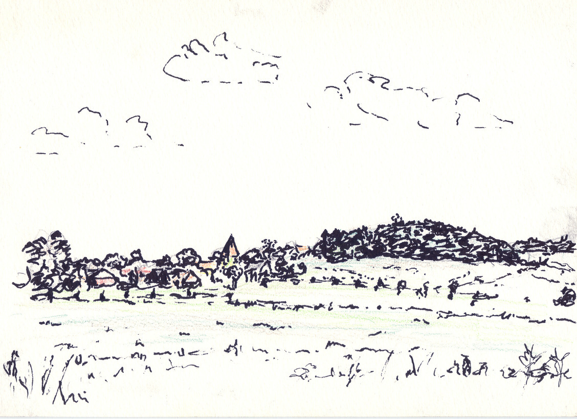 An ink drawing of a landscape with a village and a low hill.