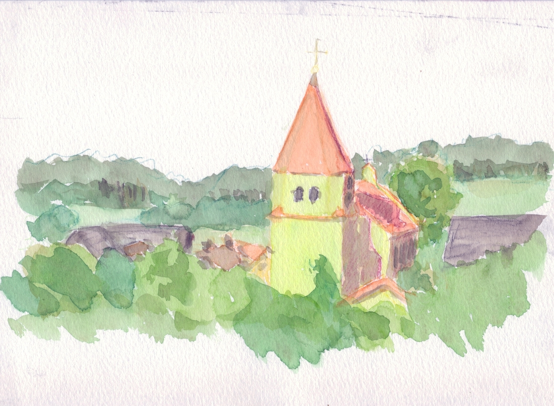 A watercolour painting of a church with green walls and an orange-red roof.
