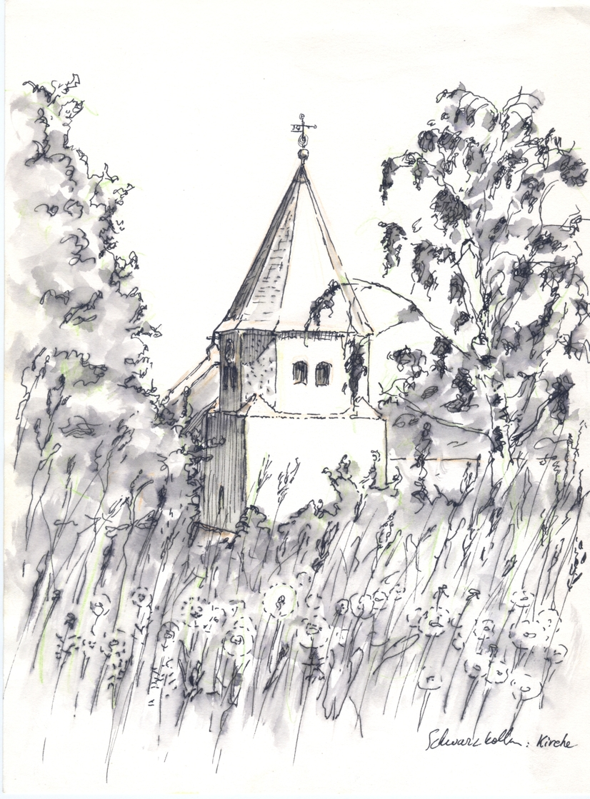 A washed ink drawing of a church.