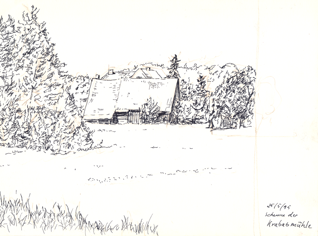 An ink drawing of an old barn at the edge of a forest.